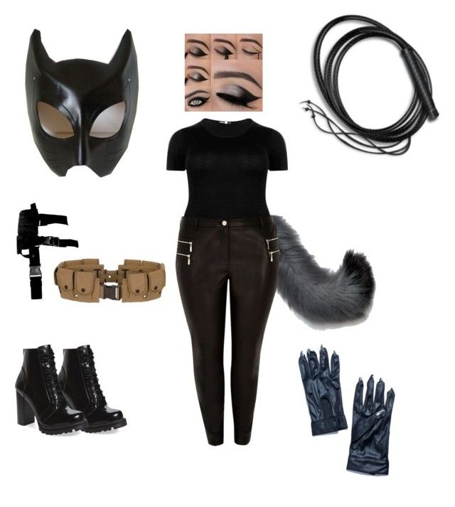 """""""Plus Size Catwoman Costume"""" by cookietink on Polyvore featuring Tell Tails, Boohoo, River Island, Jeffrey Campbell, Rogues Gallery and Leg Avenue"""