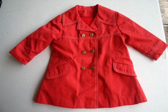 Vintage 60s 70s Child's Northlander Red Pea Coat  by WingedPharaoh