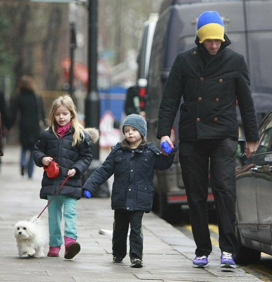 Chris Martin With Moses and Apple in London