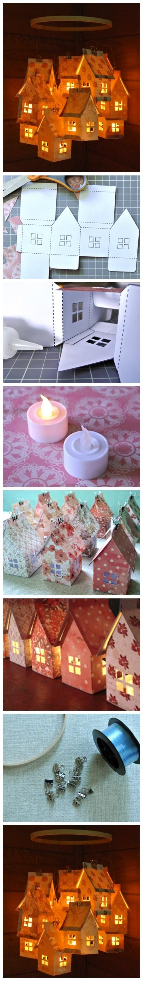 Paper House Luminaries and Mobile   DIY Crafts Tips