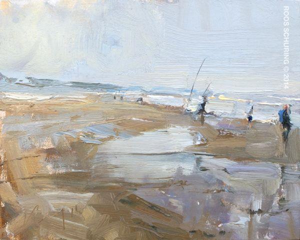 Roos Schuring, Seascape SSP06 fishermen, olieverf op hout in simpele blankhouten baklijst, 24x30 cm, €.800,-
