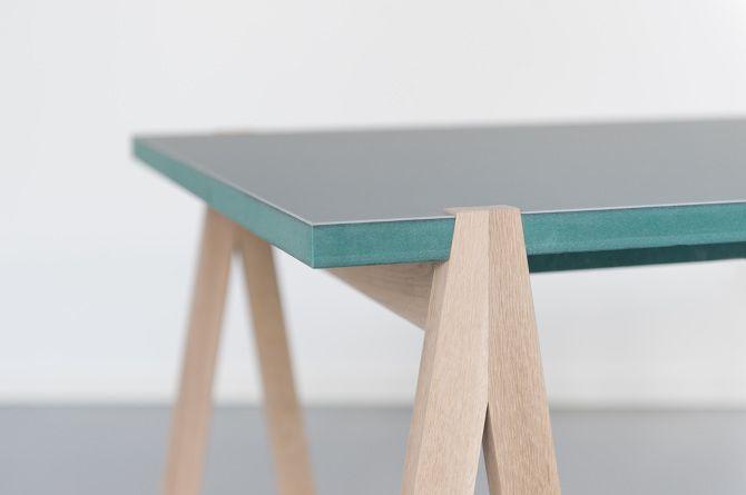 New Lokee Table, green Valchromat, Linoleum and Oak! - Åsmund Wivestad Engesland