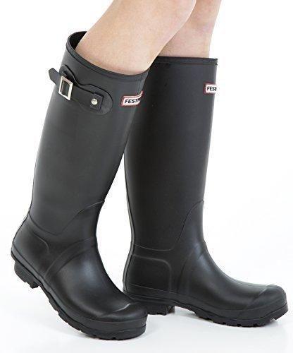 Oferta: 17.54€. Comprar Ofertas de Mujer Botas agua Nieve Lluvia Festival Botas De Agua Reino Unido tamaño 3, 4, 5, 6, 7, 8 - Mujer, Negro Mate, 37 EU barato. ¡Mira las ofertas!