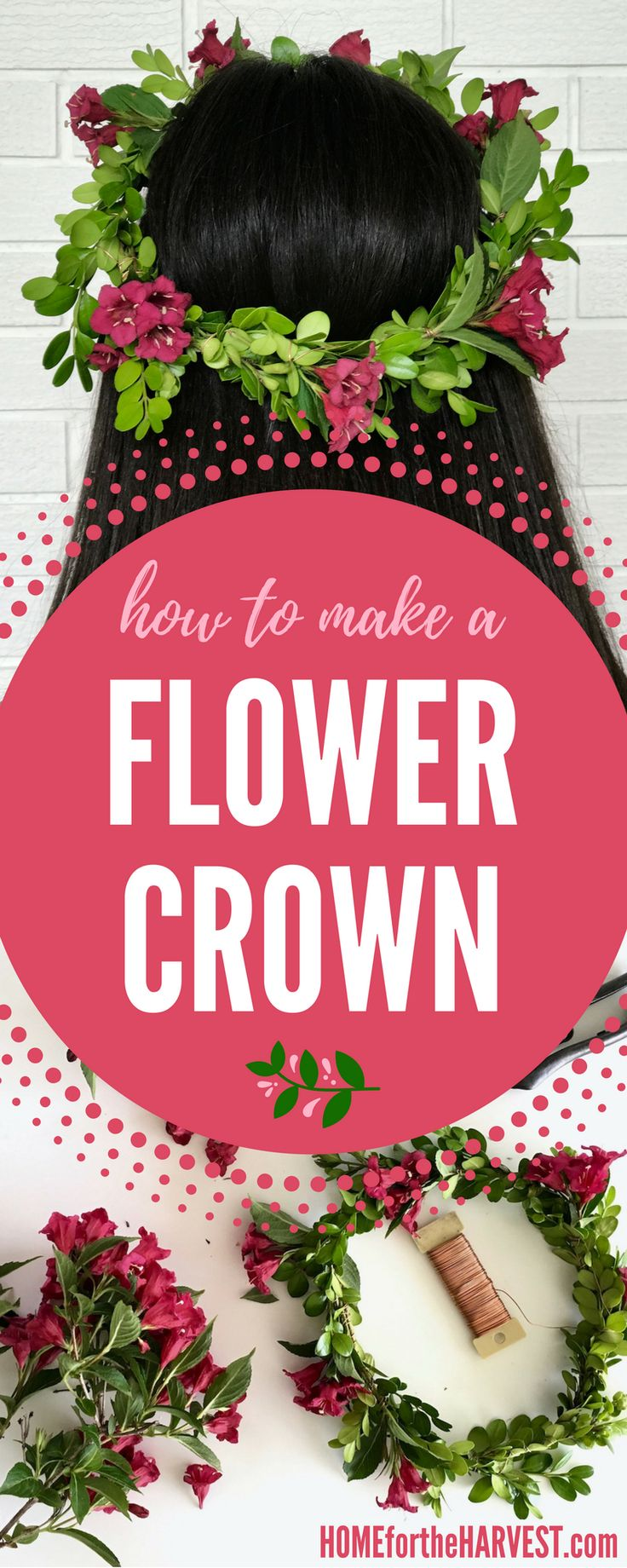 This DIY tutorial shows the exact steps for making your own flower crown from real flowers and greenery | Home for the Harvest