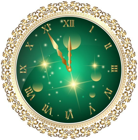 Green New Year's Clock PNG Transparent Clip Art Image: