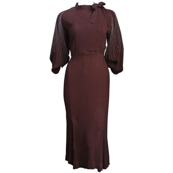 Pre-owned 1930's MAINBOCHER brown crepe dress with beaded sleeves ($2,500) ❤ liked on Polyvore featuring dresses, vintage, evening dresses, crepe dress, red crepe dress, tie dress, brown dress and sleeve dress