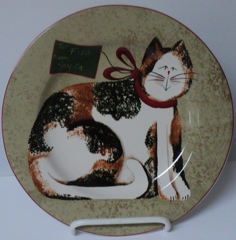 CHRISTMAS CATS FIDDLESTIX Sakura Fido From Santa Holiday Salad PlateEbay Ware, Cat Art, Fiddlestix Sakura, Cat Fiddlestix, Santa Holiday, Sakura Fido, Christmas Cat, Salad Plates, Holiday Salad