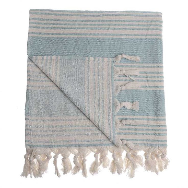 BODY TOWEL-PESTEMAL IN TURQUOISE/IVORY COLOR - Towels