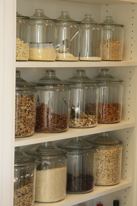 Glass jars with scoops for flour, sugar, oatmeal, coffee, baking mix, etc...