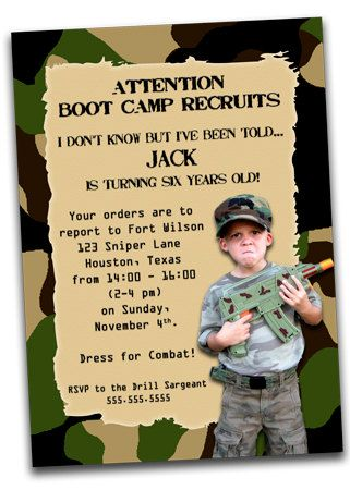 printable army boot camp birthday invitation with photo- camo, Birthday invitations