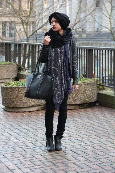 Saima Chowdhury - Simply Hijabs Black Hijab, Primark Faux Fur Snood, Imaan & Beauty Printed Scarf, Debenhams Black Bag, Asos Studded Leather Jacket, H&M Black Skinny Jeans, Missguided Chelsea Boots - Winter