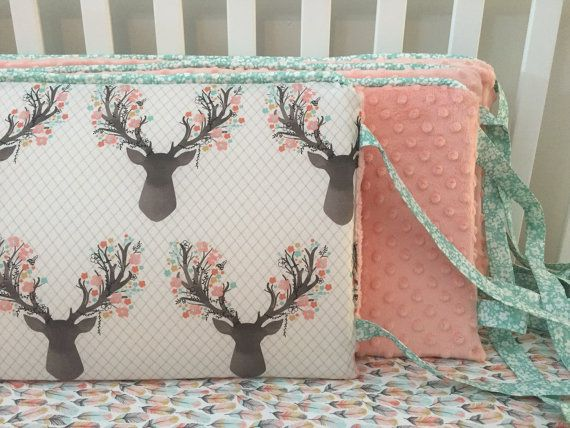 Deer Woodland Feather Nursery Set in Pink. by LittleOasisNurseries