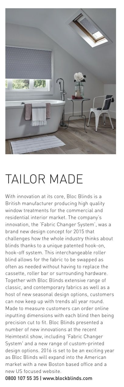 A lovely write up from Interior Design Today magazine, flags up our customisation capability