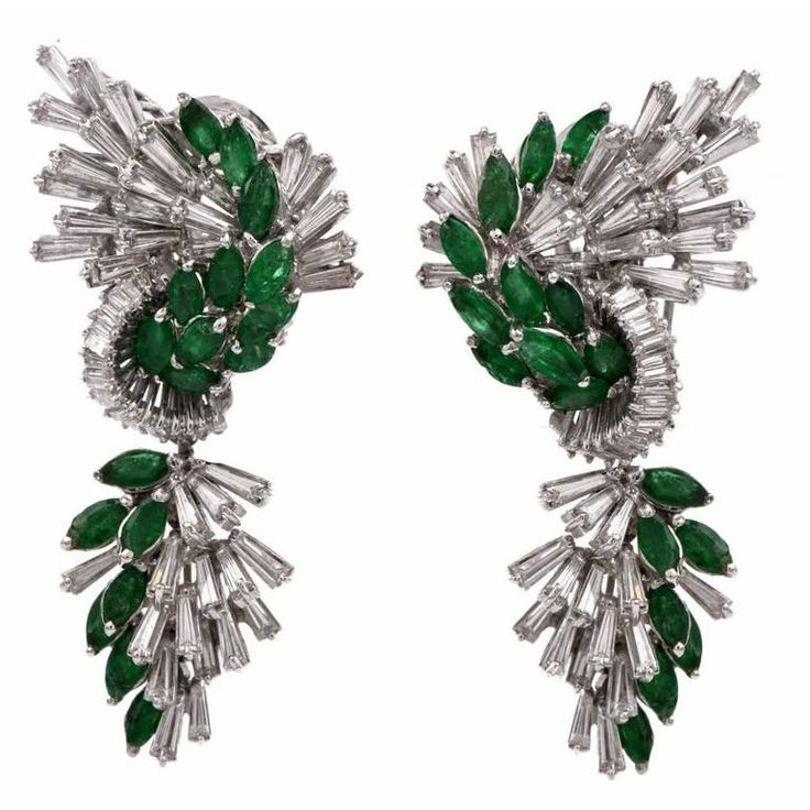 Platinum Emerald Diamond Cluster Pendant Day and Night Earrings