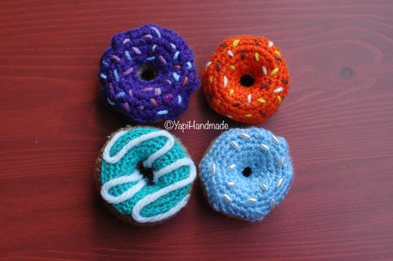 Crocheted donuts with different frostings (available on YapiHandmade Etsy store)