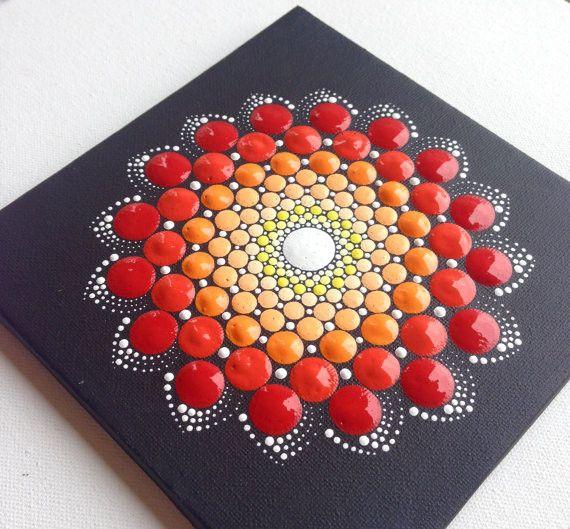 Acrylmalerei - Original Rot Dotart Keilrahme Wanddekoration Bild - ein Designerstück von CreateAndCherish bei DaWanda