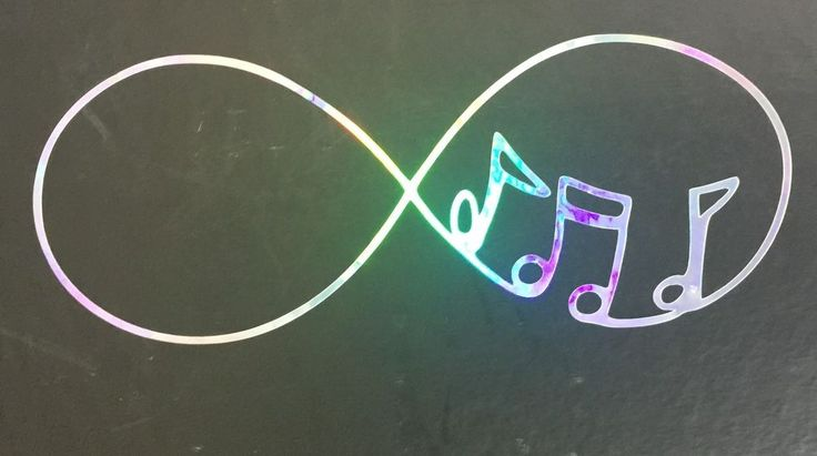 Infinity Music Notes Rainbow Holographic Car Decal Sticker Window Laptop 09-60…
