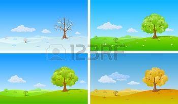 Background Natura. Quattro stagioni. Albero solitario in inverno, primavera, estate, autunno. photo