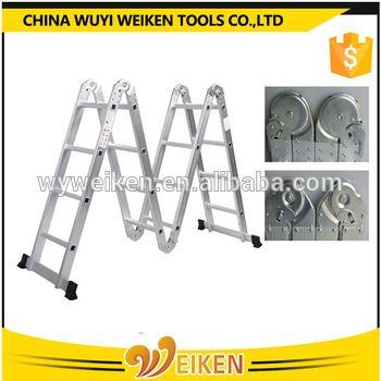 wuyi big hinge 4x4 step aluminum folding ladder