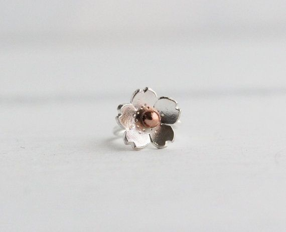 Cartilage Hoop Earring Cherry Blossom Sterling silver by HapaGirls