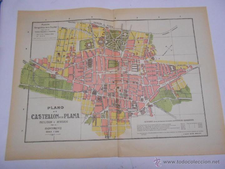 ANTIGUO PLANO DE LA CIUDAD DE castellon de la plana CA 1915. 50X37 CMS DESPLEGADO.A. MARTIN EDIT. - Foto 1