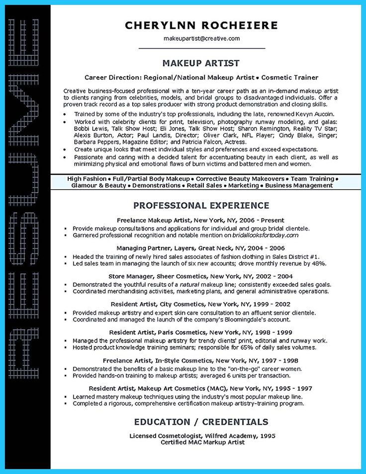 13 best Resume images on Pinterest Artist resume, Resume examples - cosmetic representative sample resume