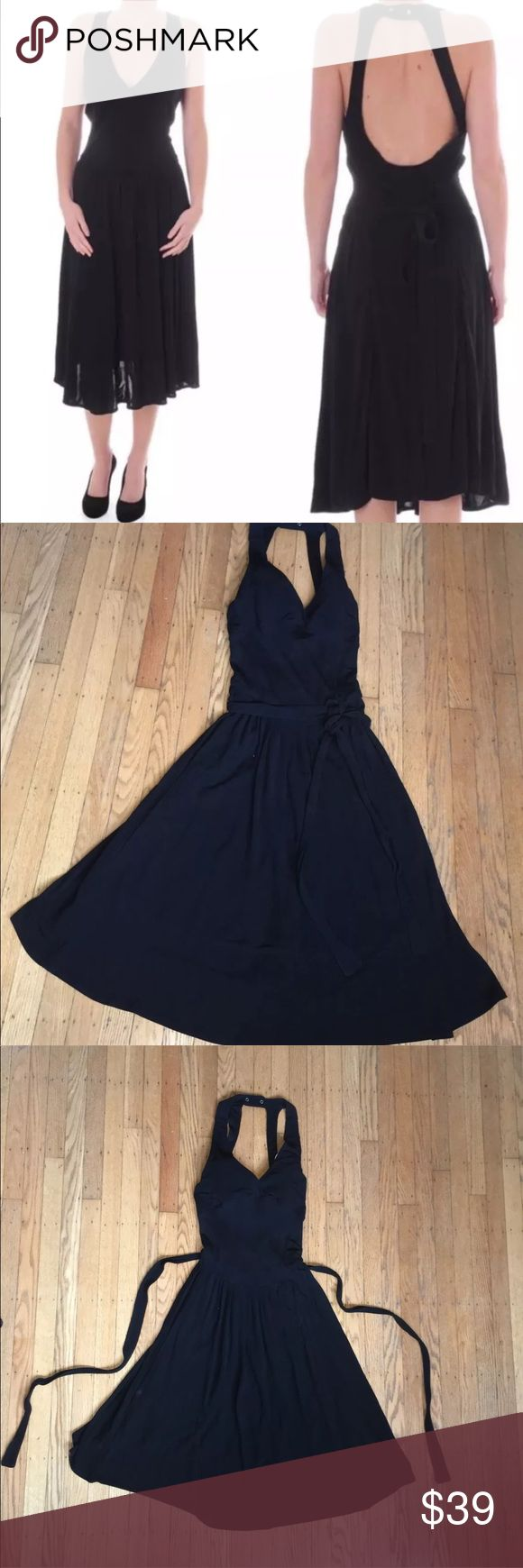 """Diesel Black Sleeveless Dress Size Medium Women's Diesel Dress  Size Medium  PreOwned Like New Condition  Solid black 100% Viscose  Lined  Cinched at Waist  Stretchy 100% Viscose  Functioning Hard Wear Snaps At Back Neck  Fixed Sash Can Be Tied Multiple Ways  Bust 30""""  Length 47""""  Waist 24""""  Thank You ! Diesel Dresses Midi"""