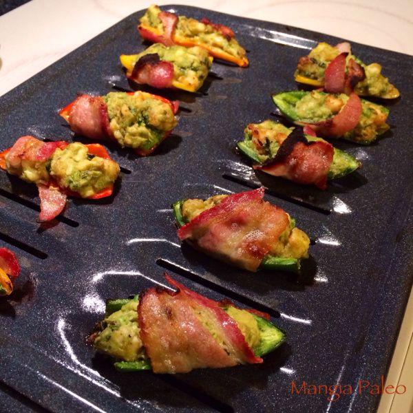 bacon wrapped shrimp & avocado poppers PALEO superbowl appetizer!