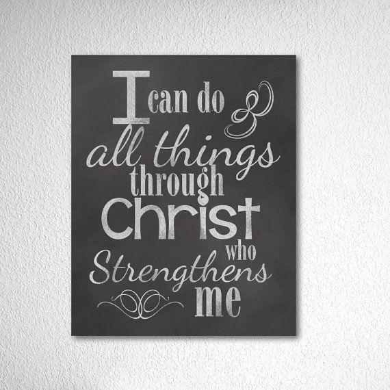 Chalkboard Art Print All Things Through Christ Bible Scripture Home Decor Typography Artwork Digital Design Wedding Gift Anniversary 8x10