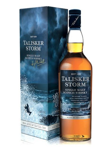 """Talisker Storm Single Malt Scotch Whisky. a warm welcome from a wild sea""""  I'd probably give this to Douglas just to annoy him."""