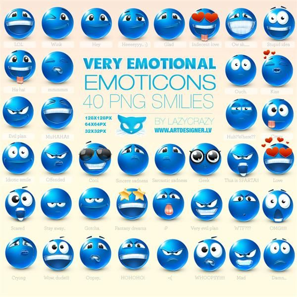 Very  Emotional Emoticons by LazyCrazy photoshop resource collected by psd-dude.com from deviantart