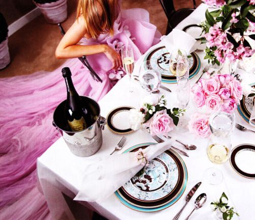 How I would love to wear that beautiful pink dress and drink expensive champagne at a table covered in peonies...that's the life!