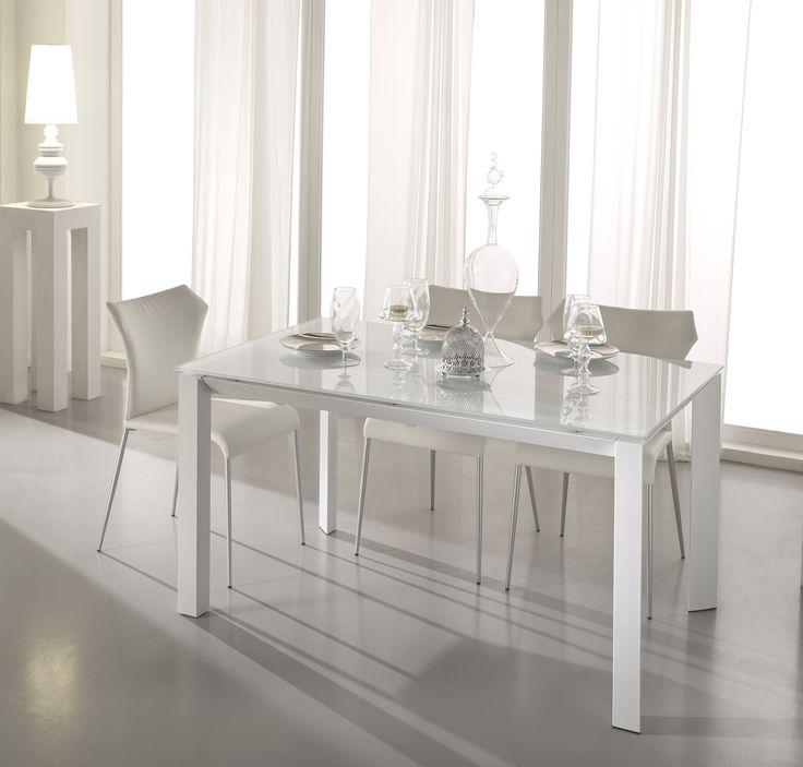 Isabella+-+Tavolo+da+pranzo+con+allungo+telescopico+in+MDF+bianco+opaco/bianco++-+grigio+opaco/grigio.+misure+140/220+x+90+x+75+.+