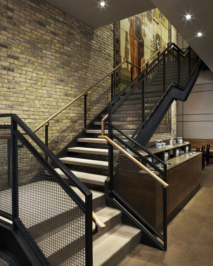 Starbucks Chicago Flagship - Staircase with Banker Wire railing infill, Infill Panels by Banker Wire