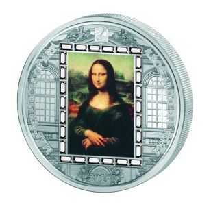 """20$ Серебряная монета - """"Мона Лиза"""" Леонардо да Винчи - сери шедевры мирового искусства - Острова Кука 2016"""