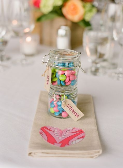 Customized M&M wedding favors // Carrie Patterson Photography // http://www.theknot.com/submit-your-wedding/photo/56f5db38-ce97-4e6c-9e46-8641c32fd1c6/Stephanie-Kevin-MountainChic-Wedding