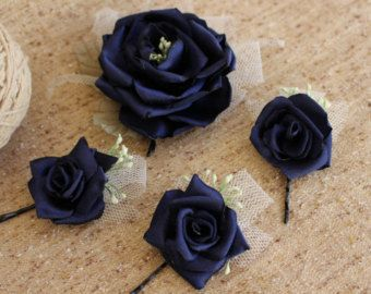 Navy blue rose hair pin-rose Flower Fascinator-Bridal hair piece-dark blue flower-Set 4 hair pin-rose hair bobby pin-Bridesmaid Hair Pins