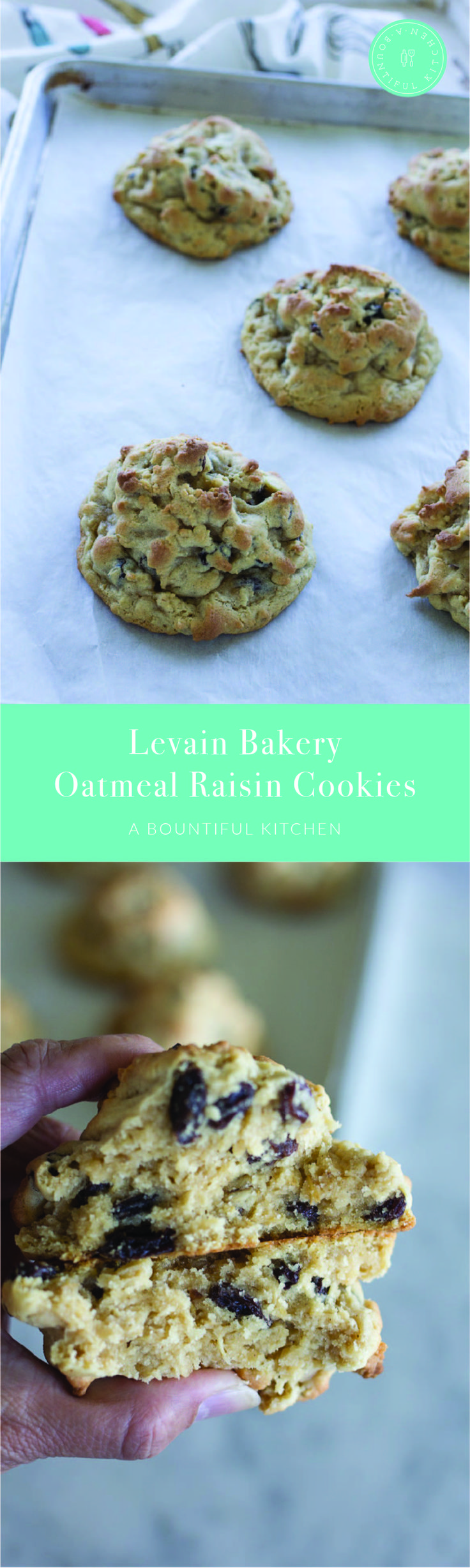 A Bountiful Kitchen: Levain Bakery in New York City makes a serious oatmeal cookie. Thick and chewy,filled with raisins and big enough to be a meal replacement, ABK's Levain Bakery Oatmeal Raisin Cookie is a cookie your granny will love! #levainbakery #copycatrecipe #oatmealraisin #cookie #dessert