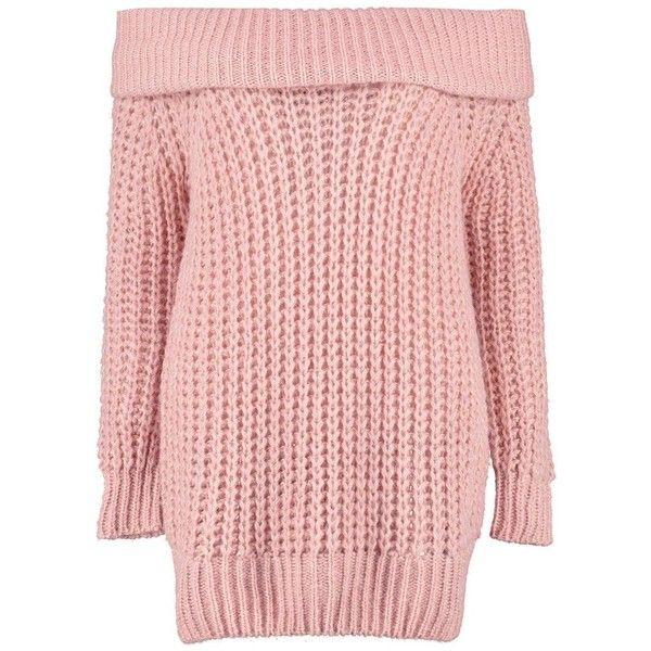 Boohoo Tiffanie Soft Knit Marl Bardot Jumper (855 RUB) ❤ liked on Polyvore featuring tops, sweaters, knit sweater, knit turtleneck sweater, turtle neck sweater, pink knit sweater and pink turtleneck