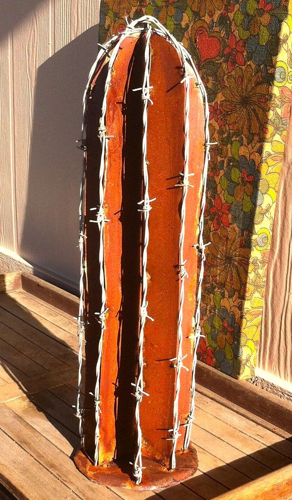 Rustic BarbWire Cactus Metal Yard Art by TopangaPatina on Etsy