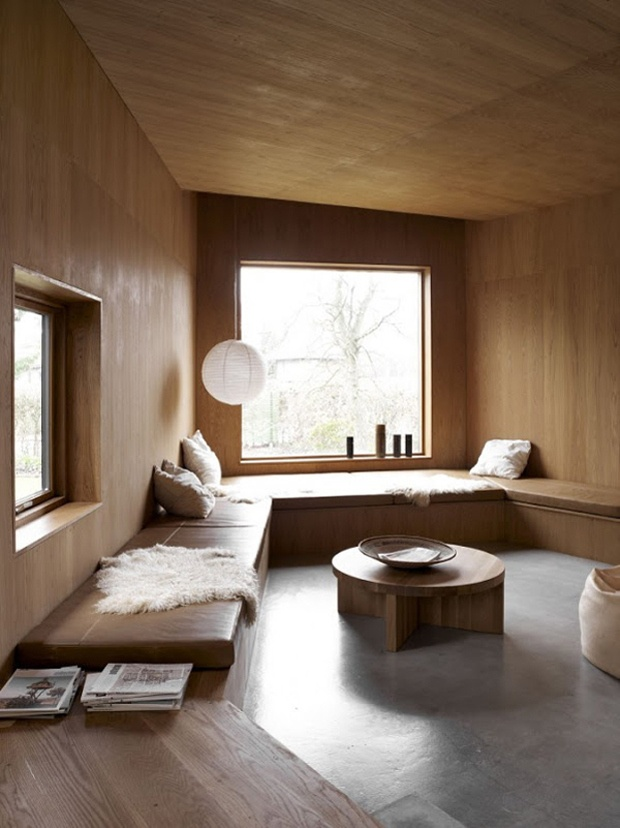 Polished concrete floor - a cosy built in seating area