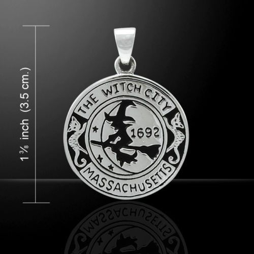 WITCH Pendant .925 Sterling Silver Magick amulet Salem Witch 1692 Moon Cat Broom