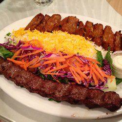 Lamb and beef kabob combo served at Rose Kabob Restaurant, Vienna, VA.