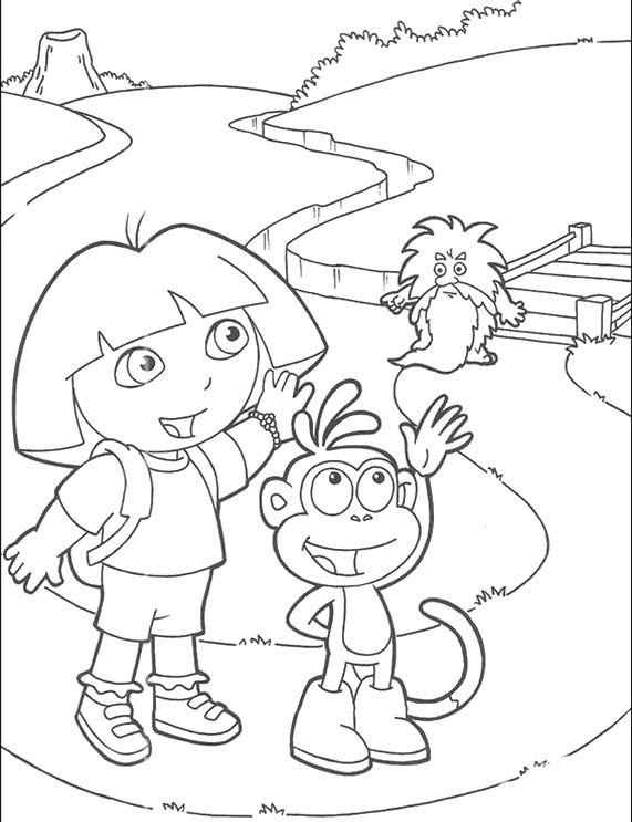 Dora And Boots Give Greetings To Friends Coloring Pages