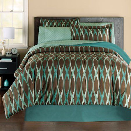 Mainstays Wavy Bed In A Bag Bedding Set, Brown