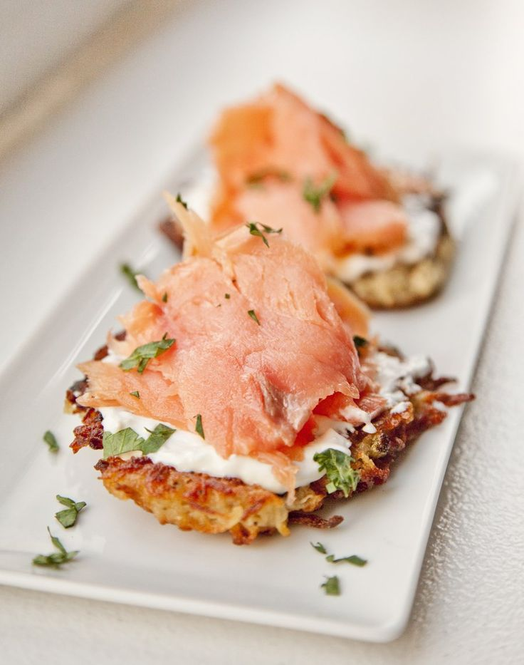 Crispy Potato Pancakes topped with Creme Fraiche and Smoked Salmon