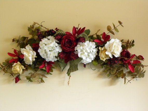 Silk Flower Swag Roses Hydrangea In Burgundy By