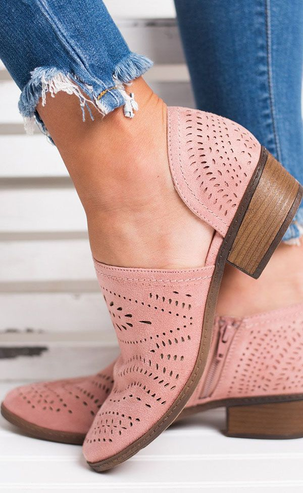 137e74e9add5 Hot Sale!Hollow-out Low Heel Cutout Booties Faux Suede Zipper Ankle Boots