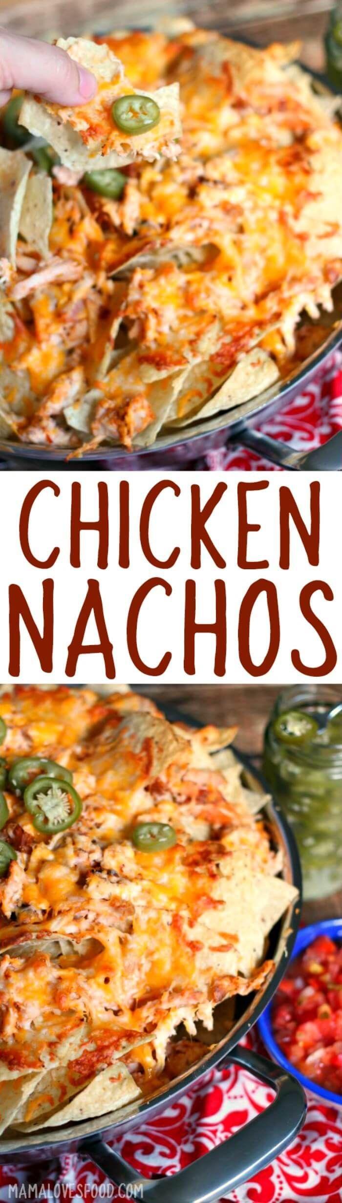 whole family loved!!! - CHICKEN NACHOS #nachos #chicken #easydinner #chickennachos