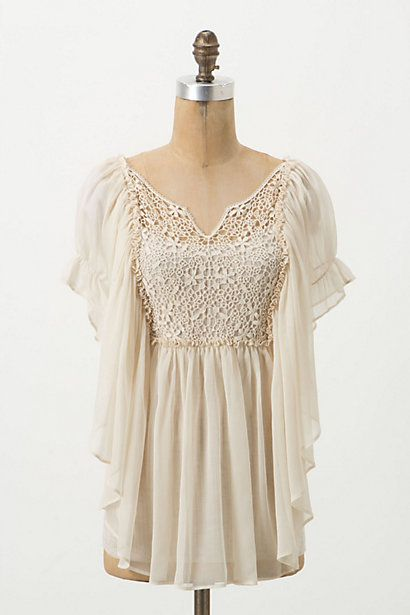 "This ""Crimped Alabaster Blouse"" from Anthropologie is GORGEOUS!"
